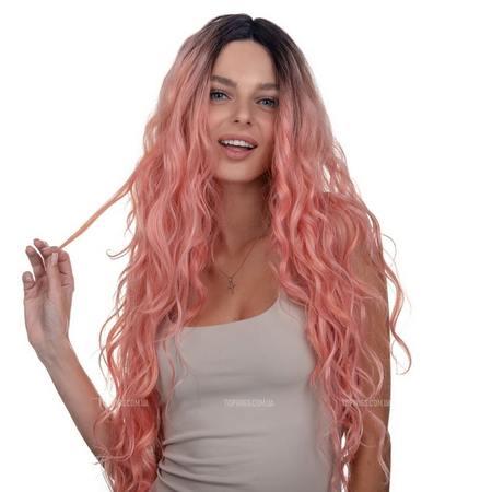 Длинный розовый парик Ann Lace на сетке
